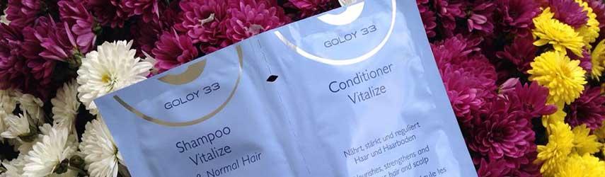 Sie sehen Shampoo und Conditioner Produktproben GOLOY 33 Haarpflegelinie.