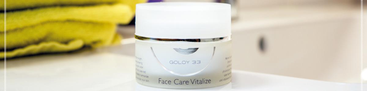Sie sehen die GOLOY 33 Face Care Vitalize Gesichtscreme. Ein Original Foto für Facebook. Copyright © 2019 Goloy GmbH.