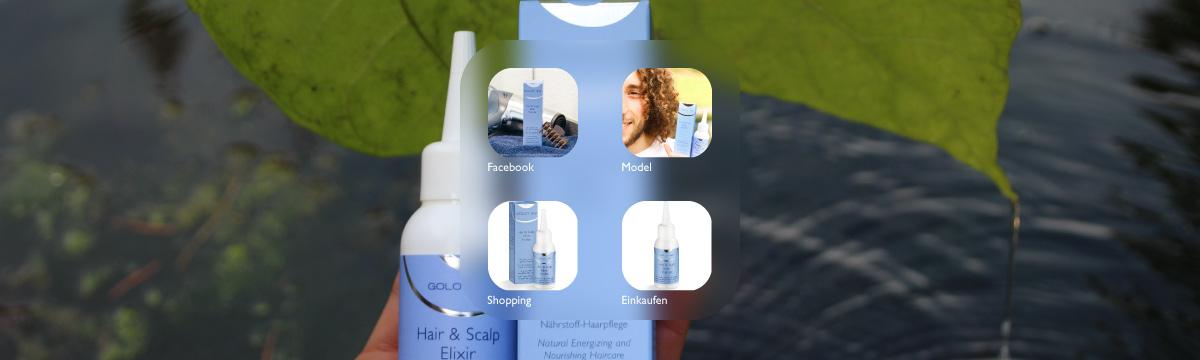 Sie sehen das GOLOY 33 - Hair & Scalp Elixir Vitalize - Haarbodenserum. Mit Model Massimo Gargaro. Foto: Emilie. Copyright © 2020 Plewnia Naturprodukte