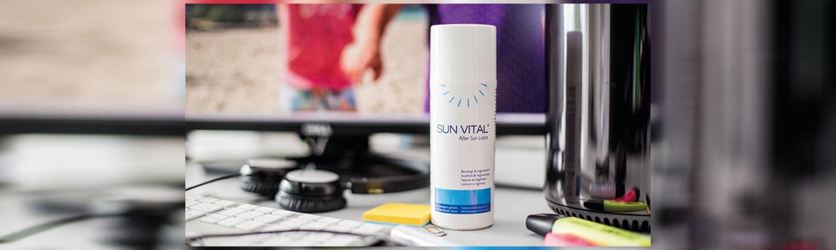 Sie sehen das GOLOY 33 - SUN VITAL® - After Sun Lotion - Pflege nach dem Sonnenbad. Ein Bild für Facebook. Copyright © 2020 GOLOY GmbH