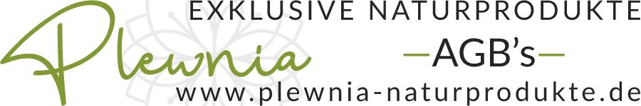 Sie sehen eine Adaption des Plewnia Naturprodukte Logos für die allgemeinen Geschäftsbedingungen.