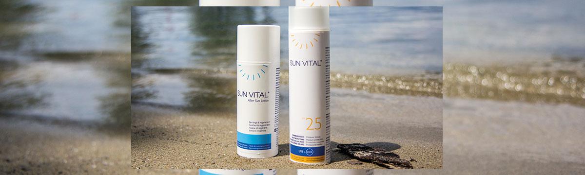 Sie sehen die SUN VITAL® - After Sun Lotion und Sonnenschutz. Ein Bild für Facebook. Copyright © 2020 GOLOY GmbH