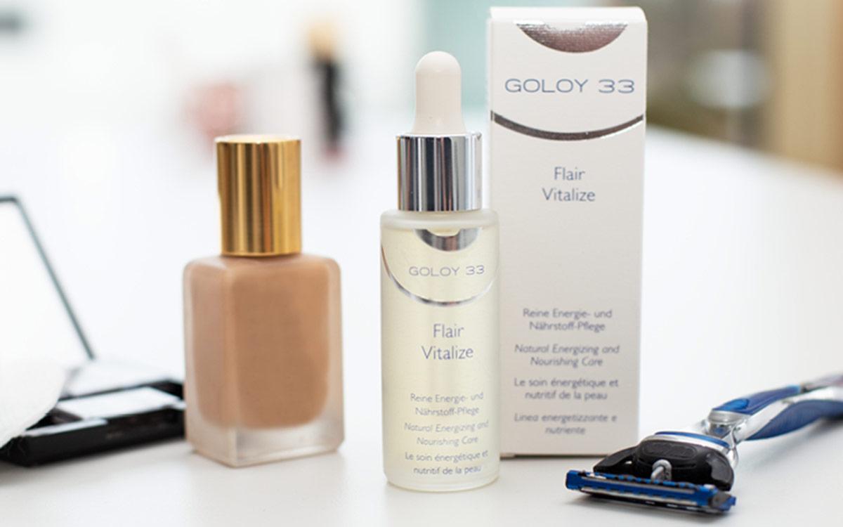 Sie sehen das GOLOY 33 Flair Vitalize Gesichtsserum. Ein Bild für Facebook. Copyright © 2019 GOLOY GmbH