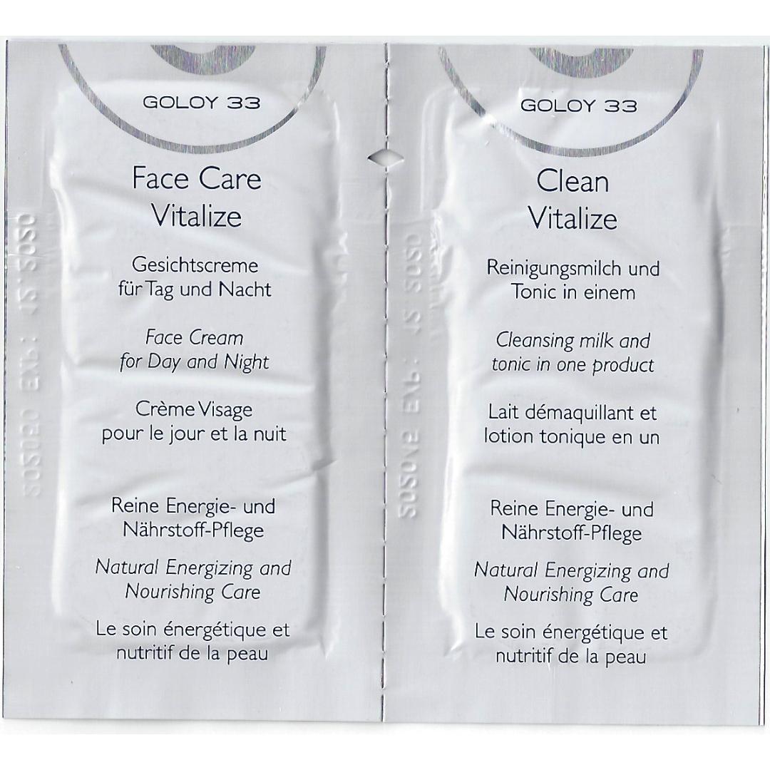 Sie sehen eine Produkteprobe der Face Care Vitalize Gesichtscreme und der Clean Vitalize (2in1) Reinigungsmilch und Tonic. 2020 Copyright © Plewnia Naturprodukte